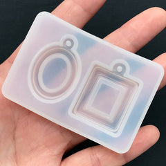Pendant Setting Mold (2 Cavity) | Cameo Setting Silicone Mold | UV Resin Jewelry Supplies | Clear Soft Mold | Epoxy Resin Mould