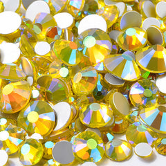AB Round Glass Rhinestones | Aurora Borealis Crystal in Various Sizes | Faceted Flat Back Rhinestones (AB Yellow / SS4 to SS20 / Around 300 pcs)