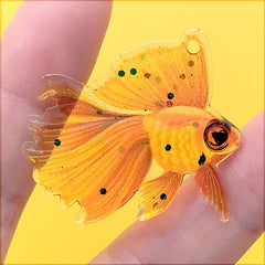 Resin Goldfish Charm with Glitter | Colorful Fish Pendant | Kawaii Jewellery DIY (1 Piece / Orange / 35mm x 35mm)