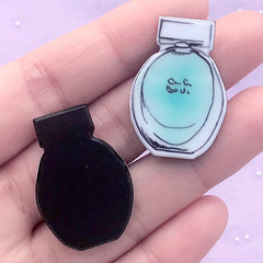 Perfume Bottle Acrylic Cabochon | Decoden Embellishments | Hair Accessories Making | Novelty Jewellery Supplies (2 pcs / Blue / 22mm x 31mm)