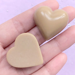 Milk Chocolate Cabochons in Heart Shape | Valentine's Day Embellishment | Sweet Deco | Kawaii Decoden (2 pcs / Light Brown / 29mm x 29mm)