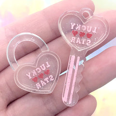 Heart Key and Key Lock Pendant | Kawaii Decoden Cabochon | Cute Resin Charm | Toddler Jewelry Making (2 pcs / Pink)
