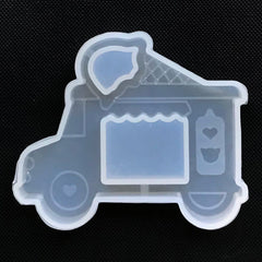 Ice Cream Truck Silicone Mold | Ice Cream Van Mould | Kawaii Shaker Charm Making | Resin Decoden Cabochon DIY (66mm x 54mm)
