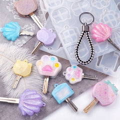 Key Cover Silicone Mold (6 Cavity) for Large Keys | Kawaii Bear Cat Strawberry Scallop Shell Paw Key Cap Making | Resin Craft Supplies