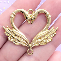 Swan Heart Open Bezel Connector Charm | Bird Deco Frame for UV Resin Filling | Romantic Love Pendant (1 piece / Gold / 41mm x 33mm)