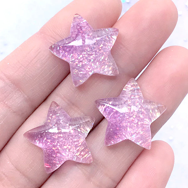 Kawaii Star Cabochons with Glitter | Glittery Resin Cabochon | Decoden Supplies (Purple / 3 pcs / 20mm x 19mm)