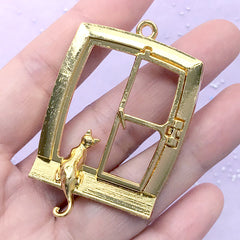 Cat Sitting on Window Open Bezel Charm with Movable Window Frame | Kawaii Kitty Deco Frame for UV Resin Filling (1 piece / Gold / 36mm x 55mm)