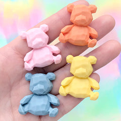 Faceted Bear Decoden Cabochon | Kawaii Embellishment for Phone Case Deco (4 pcs / Mix / 28mm x 30mm)