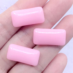 Fake Food Cabochons | Faux Chewing Gum Embellishments | Novelty Jewellery DIY | Kawaii Decoden Supplies (3 pcs / Pink / 11mm x 21mm)