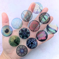30mm Circle Print for Dome Cabochon DIY | Magic Circle Owl Lotus Tree Eye Clear Film | Resin Jewelry Making