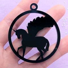 Pegasus Acrylic Open Bezel | Unicorn Deco Frame for UV Resin Filling | Mythical Creature Pendant (1 piece / Black / 48mm x 54mm / 2 Sided)