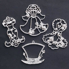 Fairy Tale Costume Open Bezel | Mad Hatter Pendant | Princess Dress Charm | Fairytale Deco Frame for UV Resin Filling (4 pcs / Silver)