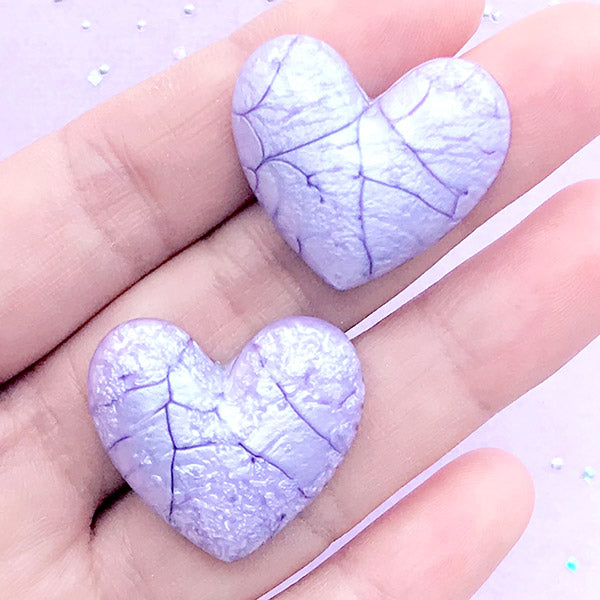 Heart Cabochon with Cracked Marble Pattern | Puffy Heart Embellishment | Kawaii Decoden Piece (2 pcs / Purple / 27mm x 24mm)