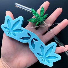Pot Leaf Weed Hemp Straw Topper Silicone Mold | Marijuana Straw Attachment Making | Party Decoration | Epoxy Resin Mould (44mm x 39mm)