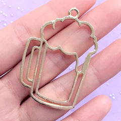 Beer Pint Open Bezel Charm | Glass Tankard Deco Frame for UV Resin Filling | Kawaii Jewelry DIY (1 piece / Gold / 33mm x 49mm)