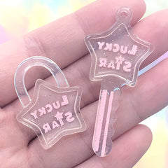 Star Key and Key Lock Resin Charms | Kawaii Jewelry DIY | Cute Keychain Charm | Decoden Cabochons (2 pcs / Pink)