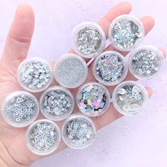 Silver Glitter Confetti Assortment in Various Shapes | Holographic Star Rhombus Moon Heart Flower Snowflake Hexagon Round Glitter Powder (12 boxes)