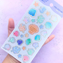 Seashell and Coral Reef Stickers in Pastel Color | Mermaid's Wonderful Palace Sticker | Kawaii Epoxy Stickers