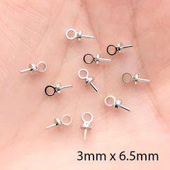 Eye Pins | Glue On Eye Hooks | T Pin with Loop | Mini Hook Bails | Jewelry Charm Making (25 pcs / Silver / 3mm x 6.5mm)