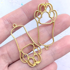 Cat Paw Dog Paw Open Bezel Charm | Kawaii Pet Pendant | Animal Deco Frame for UV Resin Jewellery Making (2 pcs / Gold / 20mm x 40mm)