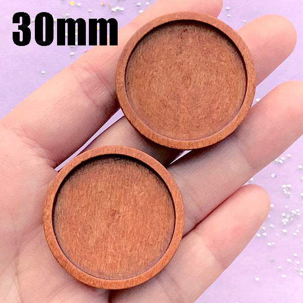 Round Wooden Bezel Tray for UV Resin Jewelry Making | 30mm Cabochon Setting | Wood Findings (2 pcs / 30mm / Orange Brown)