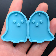 Ghost Pendant Silicone Mold (2 Cavity) | Halloween Jewelry Making | Resin Dangle Earring Mould | Resin Craft Supplies (30mm x 37mm)