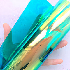 Iridescent Transparent Vinyl Leather | PVC Fabric Sheet | Cosmetic Bag Making (Blue Green / 20cm x 26cm / 0.1mm)
