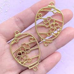 Sakura Lantern Open Bezel Pendant | Cherry Blossom Lantern Deco Frame | Oriental Charm | UV Resin Jewellery DIY (2 pcs / Yellow Gold / 28mm x 44mm)