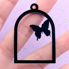 Butterfly and Bird Cage Open Back Bezel Charm | Black Acrylic Deco Frame | Kawaii UV Resin Craft (1 piece / Black / 34mm x 49mm / 2 Sided)