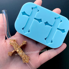 Gothic Cross Straw Topper Silicone Mold | Christmas Decoration | Epoxy Resin Mould | Resin Art Supplies (39mm x 50mm)