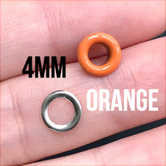 4mm Painted Eyelets | Colourful Grommets for Handmade Leather Craft (10 sets / Orange)
