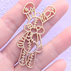 Patchwork Bunny Plush Toy Open Bezel | Kawaii UV Resin Jewelry DIY | Animal Bunny Deco Frame for Resin Filling (1 piece / Gold / 28mm x 55mm)