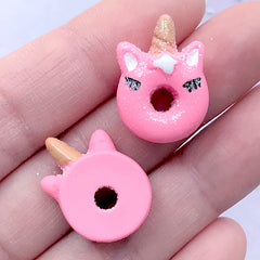 Dollhouse Unicorn Donut Cabochons | Miniature Doughnut | Sweet Deco | Kawaii Decoden Supplies (3 pcs / Pink / 16mm x 21mm)