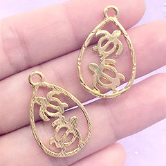 Double Sea Turtle Teardrop Open Bezel Charm | Marine Life Deco Frame for UV Resin Filling | Resin Craft Supplies (2 pcs / Gold / 18mm x 28mm)