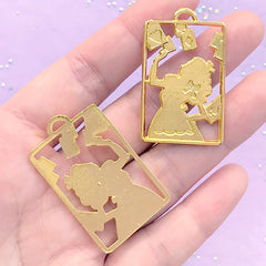 DEFECT Alice in Wonderland Deco Frame for Kawaii UV Resin Jewellery DIY | Fairy Tale Open Bezel (2 pcs / Gold / 24mm x 39mm)