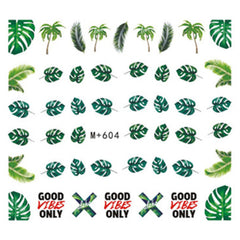 Monstera Leaves Decal Stickers | Water Transfer Sheet in Tropical Leaf Designs | Floral Resin Inclusions | Nail Decorations