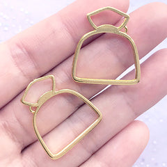Drawstring Bag Open Bezel Charm for UV Resin Jewelry DIY | Pouch Deco Frame | Kawaii Craft Supplies (2 pcs / Gold / 22mm x 25mm)