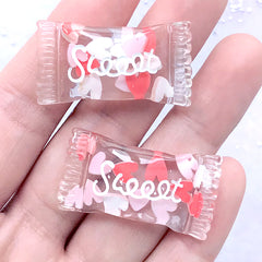 Sweet Candy Bag Cabochon with Polymer Clay Heart | Kawaii Decoden Phone Case DIY (2 pcs / 18mm x 34mm)
