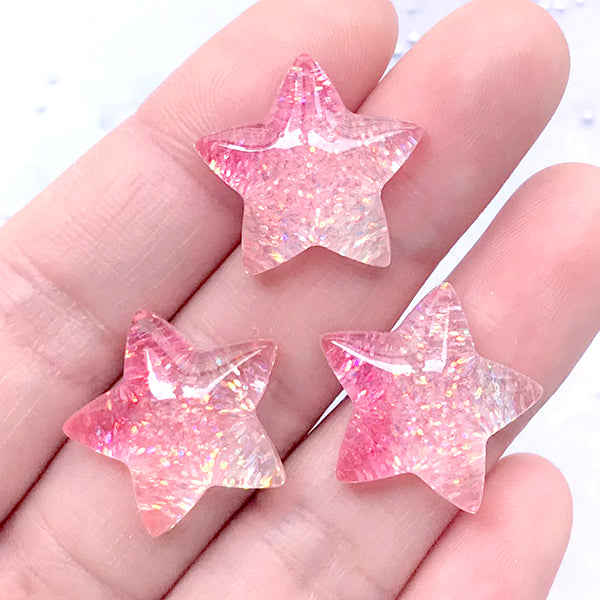 Star Cabochons | Resin Cabochon with Glitter | Kawaii Phone Case Decoden Supplies | Hair Bow Centerpiece (Pink / 3 pcs / 20mm x 19mm)