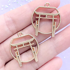Torri Gate Open Bezel | Japanese Temple Shrine Pendant | Japan Travel Charm | UV Resin Craft Supplies (2 pcs / Gold / 22mm x 25mm)