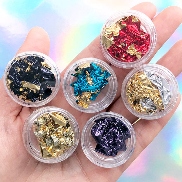 Reversible Gold Foil | Double Sided Colored Foil | Red Blue Purple Black Foil | Gold Leaf | Resin Inclusion | Nail Designs (Set of 6)