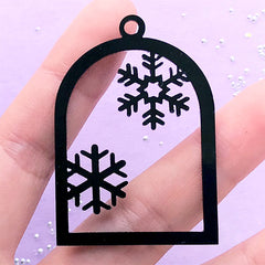Snowflake and Bird Cage Open Bezel | Black Acrylic Charm | Christmas Deco Frame for Resin Filling (1 piece / Black / 34mm x 49mm / 2 Sided)