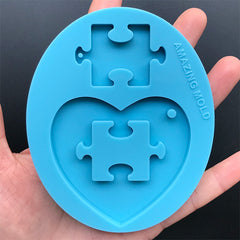 Heart and Puzzle Silicone Mold | Autism Awareness Keychain Making | Resin Jewellery DIY | Resin Crafts (64mm x 60mm)