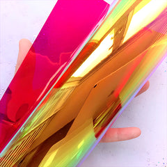 Transparent PVC Leather Fabric | Iridescent Vinyl Fabric | Kawaii Accessory DIY (Red / 20cm x 26cm / 0.1mm)