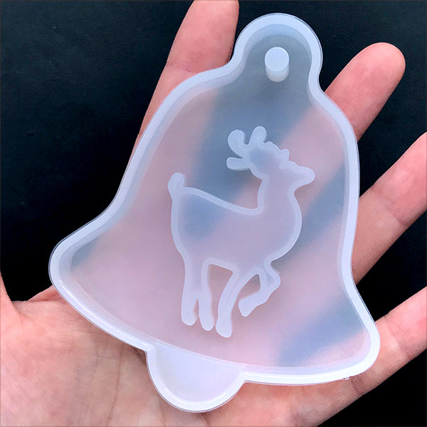 Jingle Bell Ornament with Reindeer Silicone Mold | Resin Shaker Charm DIY | Christmas Craft Supplies (78mm x 93mm)