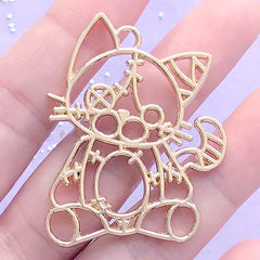Patchwork Kitty Plush Toy Open Bezel | Kawaii Patched Cat Deco Frame for UV Resin Filling | Creepy Cute Jewelry DIY (1 piece / Gold / 35mm x 45mm)