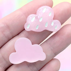 Rainy Day Cabochon | Raining Cloud Decoden Pieces | Kawaii Jewelry Supplies (3 pcs / Pink / 27mm x 19mm)