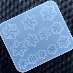 Snowflake Silicone Mold Assortment (12 Cavity) | Christmas Embellishment Making | Clear Mold for UV Resin Craft