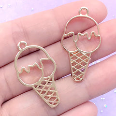 Ice Cream Open Bezel for UV Resin Jewellery DIY | Sweet Dessert Deco Frame for Resin Filling (2 pcs / Gold / 19mm x 34mm)