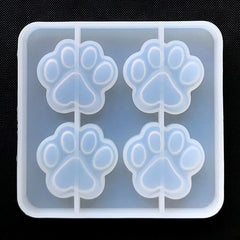 Cat Paw Silicone Mold (4 Cavity) | Dog Paw Mold | Animal Mold | Clear Mold for UV Resin | Decoden Cabochon DIY (36mm x 34mm)